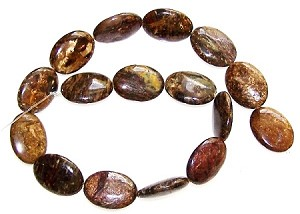 2 Bronzite 18x25mm Puff Oval Semiprecious Gemstone Beads