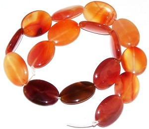 2 Carnelian 18x25mm Puff Oval Semiprecious Gemstone Beads