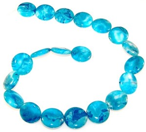 1 Strand of Blue Crazy Lace Agate 20mm Puff Coin Semiprecious Gemstone Beads