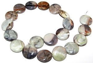 1 Strand of Picasso Jasper 20mm Puff Coin Semiprecious Gemstone Beads