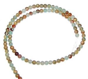 1 Strand of 4mm Round Semiprecious Gemstone Beads - Aqua Terra Jasper