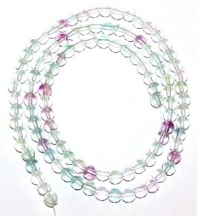 1 Strand of 4mm Round Semiprecious Gemstone Beads - Fluorite