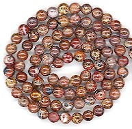 1 Strand of 4mm Round Semiprecious Gemstone Beads - Leopardskin Jasper