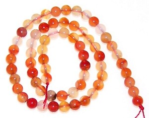 1 Dozen 6mm Round Semiprecious Gemstone Beads - Natural Carnelian