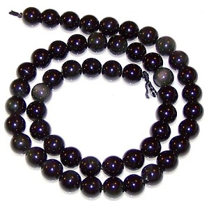 1 Dozen 6mm Round Semiprecious Gemstone Beads - Obsidian