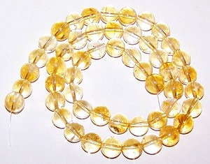 1 Strand of 6mm Round Semiprecious Gemstone Beads - Citrine