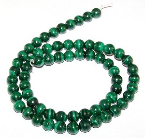 1 Strand of 6mm Round Semiprecious Gemstone Beads - Malachite