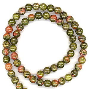 1 Strand of 6mm Round Semiprecious Gemstone Beads - Unakite