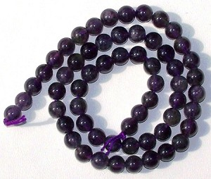 1 Dozen 6mm Round Semiprecious Gemstone Beads - Amethyst