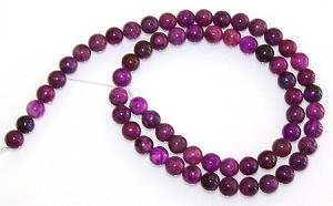 1 Strand of 6mm Round Semiprecious Gemstone Beads - Purple Crazy Lace Agate