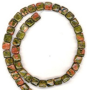 CLOSEOUT - 1 Dozen 8mm Square Semiprecious Gemstone Beads - Unakite