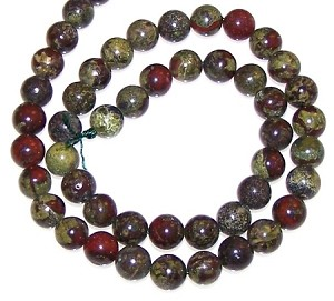1 Strand of 8mm Round Semiprecious Gemstone Beads - Dragon Blood Jasper