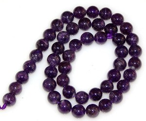 1 Strand of 8mm Round Semiprecious Gemstone Beads - Amethyst