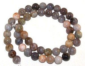 1 Dozen 8mm Round Semiprecious Gemstone Beads - Bamboo Leaf Agate
