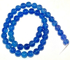 1 Strand of 8mm Round Semiprecious Gemstone Beads - Blue Agate