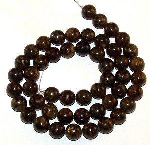 1 Strand of 8mm Round Semiprecious Gemstone Beads - Bronzite