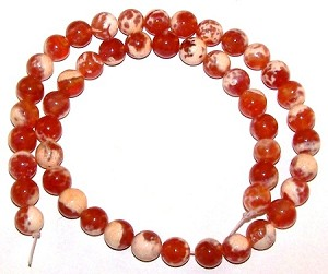 1 Dozen 8mm Round Semiprecious Gemstone Beads - Fire Agate