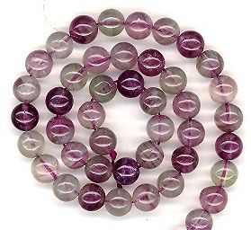1 Dozen 8mm Round Semiprecious Gemstone Beads - Fluorite