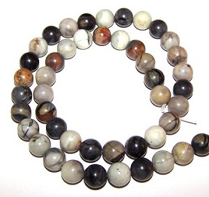 1 Strand of 8mm Round Semiprecious Gemstone Beads - Picasso Jasper