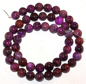 1 Strand of 8mm Round Semiprecious Gemstone Beads - Purple Crazy Lace Agate