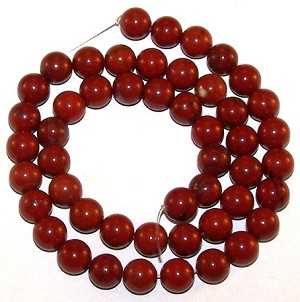1 Dozen 8mm Round Semiprecious Gemstone Beads - Red Jasper