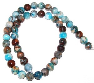 1 Strand of 8mm Round Semiprecious Gemstone Beads - Blue Crazy Lace Agate