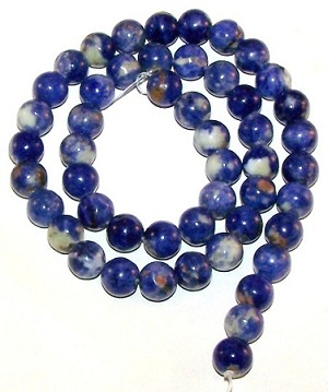 1 Strand of 8mm Round Semiprecious Gemstone Beads - Sodalite