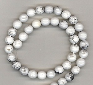 1 Strand of 8mm Round Semiprecious Gemstone Beads - White Howlite