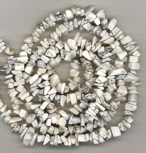 1 Strand of Semiprecious Gemstone Chip Beads - White Howlite