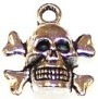 CLOSEOUT- 10 Antique Silver-Plated 13x14mm Skull & Teeth Pendants