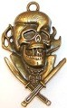 CLOSEOUT- 1 Antique Bronze 75x43mm Skull and Swords Pendant