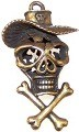 CLOSEOUT- 1 Antique Bronze 45x26mm Skull with Hat and Bones Pendants