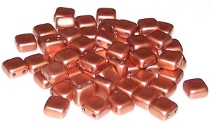 25 Czech Glass 2-Hole 6mm Tile Beads - Vintage Copper